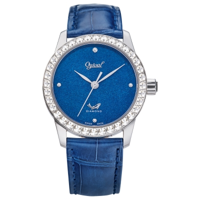 Ogival 瑞士愛其華 琺瑯自動機械錶-藍/37mm