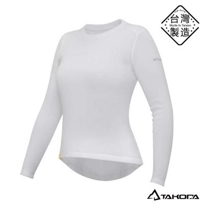 TAKODA女款刷毛內搭機能圓領T恤輕薄保暖衣(白色)