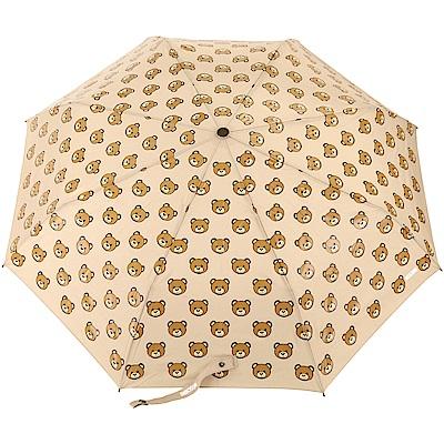 MOSCHINO Teddy Heads 泰迪熊圖案自動摺疊晴雨傘(卡其)