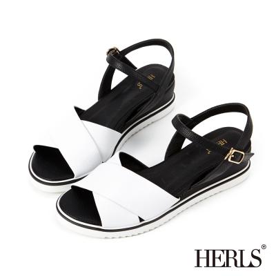 HERLS 微甜系女孩 真皮交叉條帶楔型涼鞋-黑白