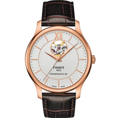 TISSOT TRADITION 古典風格自動機械錶-白x玫瑰金/40mm