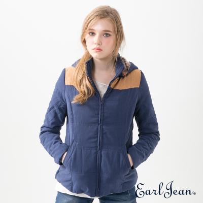Earl Jean 多彩連帽鋪棉外套-中藍-女