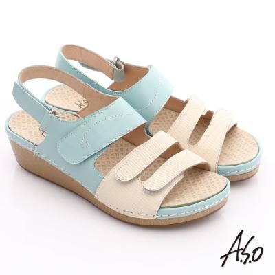 A.S.O 輕變鞋 全真皮粉彩氣墊涼鞋 淺藍色
