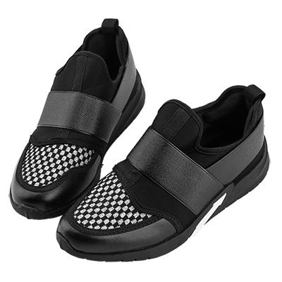 Robinlo&Co. 個性撞色方格休閒運動鞋 黑