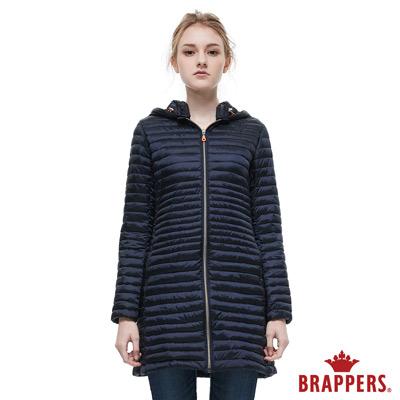 BRAPPERS 女款 長版仿絨棉可拆帽外套-深藍