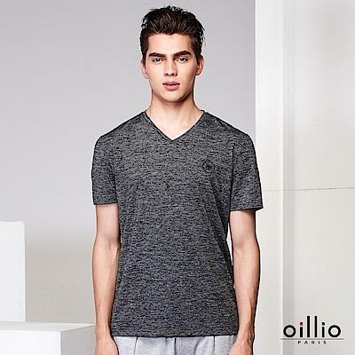 歐洲貴族oillio V領T恤 沉穩風格 麻花雜訊設計 灰色