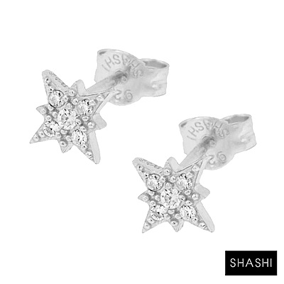 SHASHI 紐約品牌 Starburst 鑲鑽光芒星星耳環 925純銀