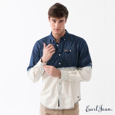 Earl Jean 漸層吊染牛仔長袖襯衫-中藍-男