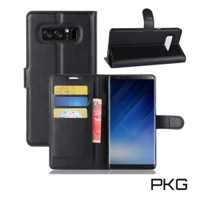 PKG Samsung NOTE8 側翻式皮套經典皮革-黑色