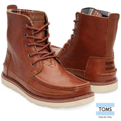 TOMS-全真皮中筒靴-男款-棕