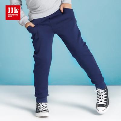 JJLKIDS 韓式素色內刷毛棉褲(藏青)
