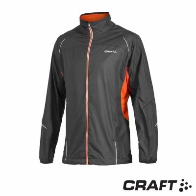 【瑞典 Craft】男款  ACTIVE RUN 反光防風防潑跑步外套_黑/橘