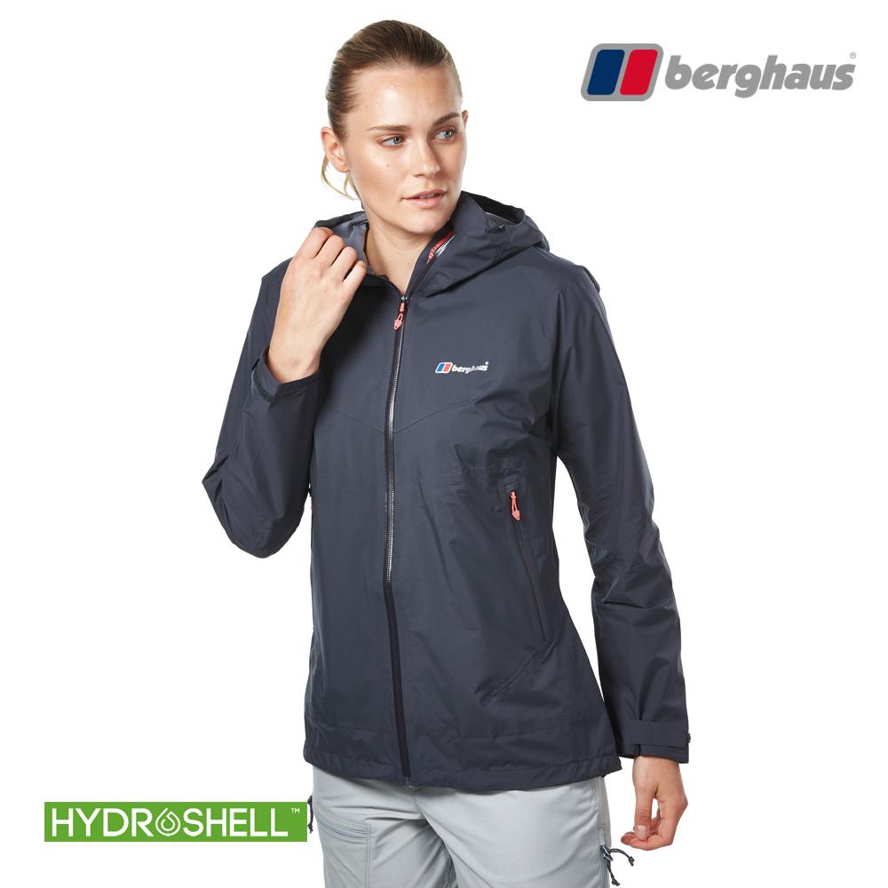 【Berghaus貝豪斯】女款HS輕量防水透氣連帽長版外套H22FS9碳灰