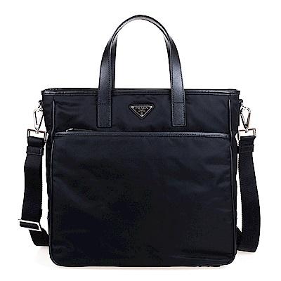 PRADA TESSUTO+SAFFI NERO尼龍帆布直立式購物肩揹包 (黑色)