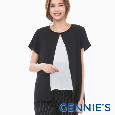 Gennies專櫃-輕甜雪紡開襟假兩件上衣(C3B06-黑/白)-M