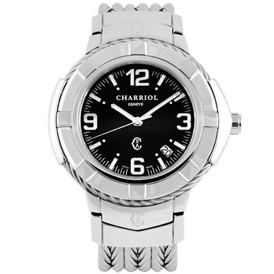 CHARRIOL 夏利豪NEW時尚經典鋼索腕錶-黑/38mm