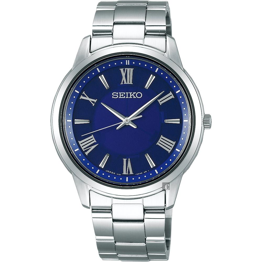 SEIKO精工SPIRIT 太陽能日系時尚手錶(SBPL009J)-藍x銀/38.8mm