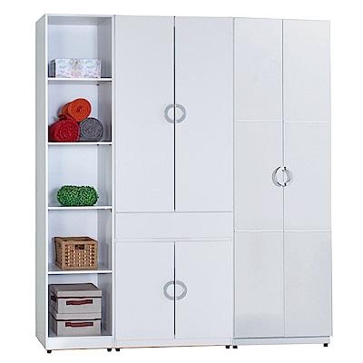 AT HOME-凱倫6尺白色三件組合衣櫃[五格+中抽掀鏡+雙吊](180*54*197cm