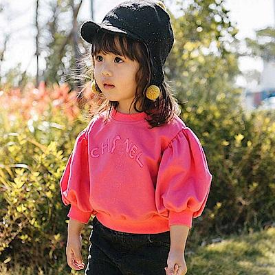 Baby unicorn 桃紅英文繡字七分袖上衣