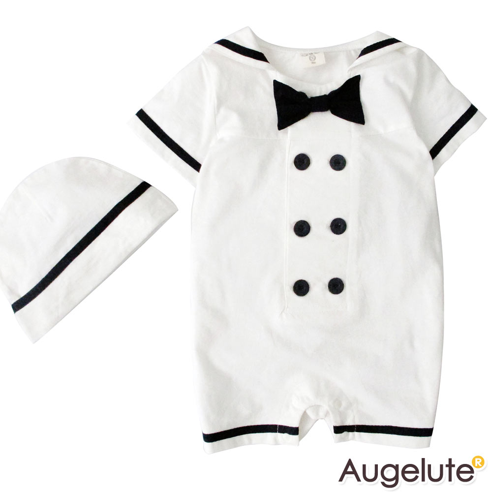 baby童衣  海軍領結短袖連身衣 贈帽 32016