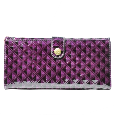Miyo壓菱格紋圓釦兩折長夾(紫色)