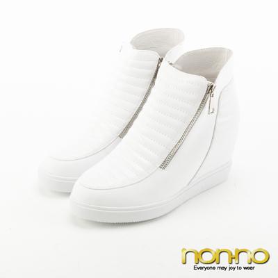 nonno 雙拉鍊波浪鞋面內增高休閒鞋-白