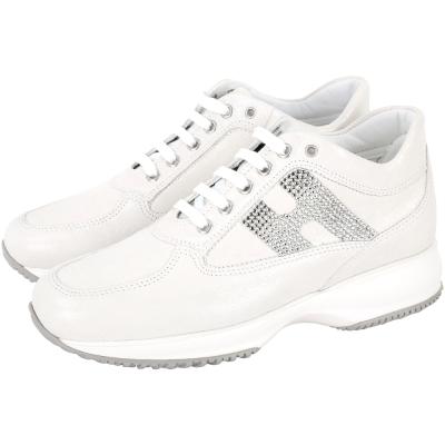 HOGAN Interactive H 鑽飾壓紋牛皮綁帶休閒鞋(白色)