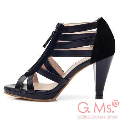 G.Ms. 韓流羊皮線條拼接麂皮高跟涼鞋-時尚黑