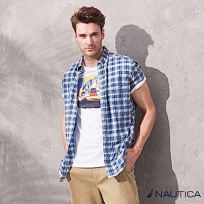Nautica藍白不敗款短袖格紋襯衫-藍白