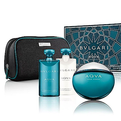BVLGARI寶格麗 水能量香氛禮盒(淡香水+沐浴膠+鬍後乳)內贈收納包