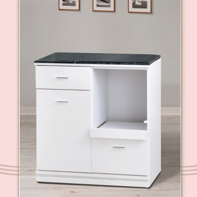 凱曼 納維斯2.7尺黑白根原石餐櫃收納櫃