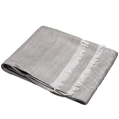 GUCCI 經典大G緹花羊毛混絲流蘇圍巾(灰/200X70cm)