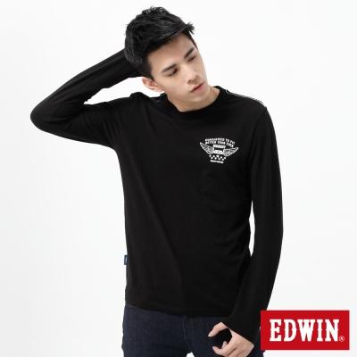 EDWIN-T恤-植絨印花配色T恤-男-黑色