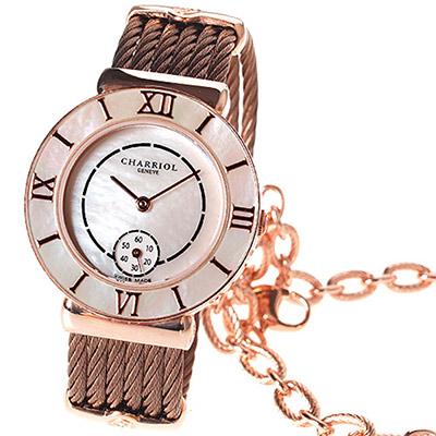 CHARRIOL 夏利豪羅馬數字小秒針腕錶-白貝