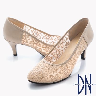 DN-優雅仕女-MIT法式鏤花透膚蕾絲高跟鞋-米