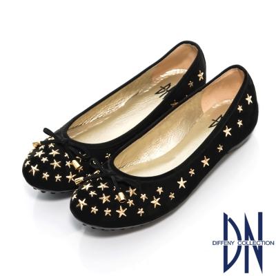 DN-甜美名媛-MIT星星鉚釘牛皮豆豆鞋-黑