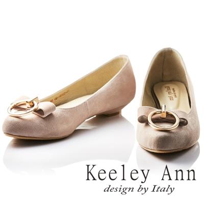 Keeley Ann 氣質甜美~金屬拉環蝴蝶結OL全真皮平底鞋(香檳色)