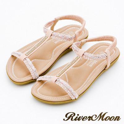 River&Moon大尺碼-簡約亮鑽編織工字Q軟涼鞋-柔美粉
