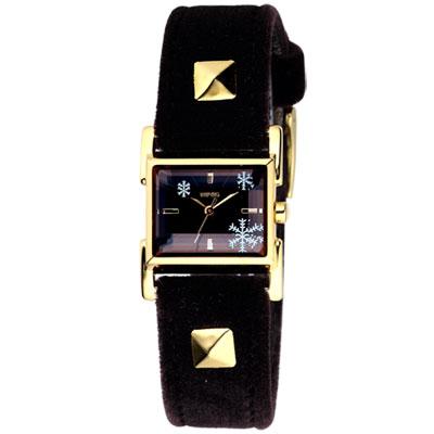 WIRED 晶漾雪花時尚都會腕錶(AC3Q06X)-黑x金框/20mm