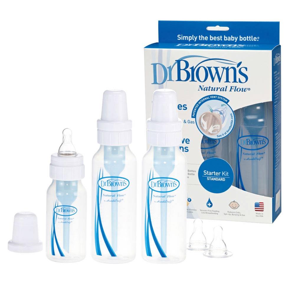 GMP BABY 美國製Dr. Brown 標準口徑PP防脹氣奶瓶2大1小 附較大奶嘴