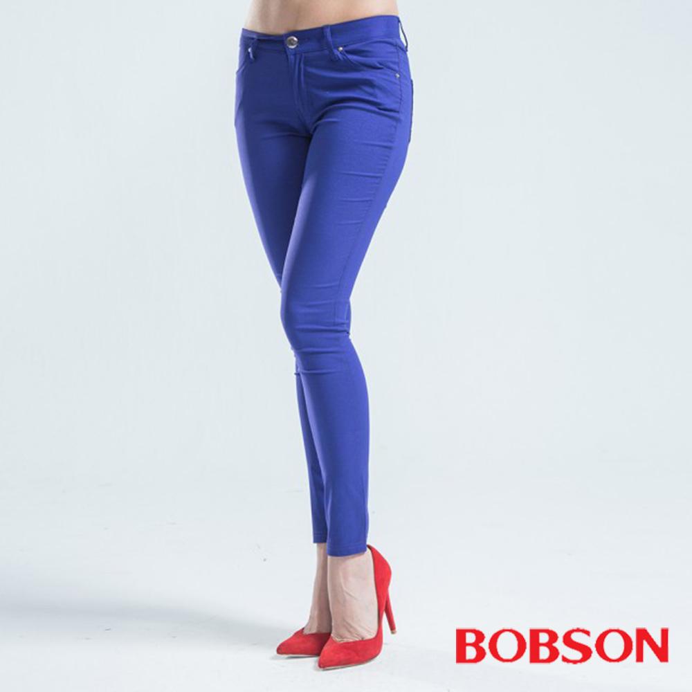BOBSON 大彈力亮光紗緊身褲-藍紫