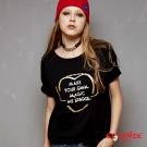 ETBOITE 箱子 BLUE WAY 愛心文字燙鑽短袖T恤-黑