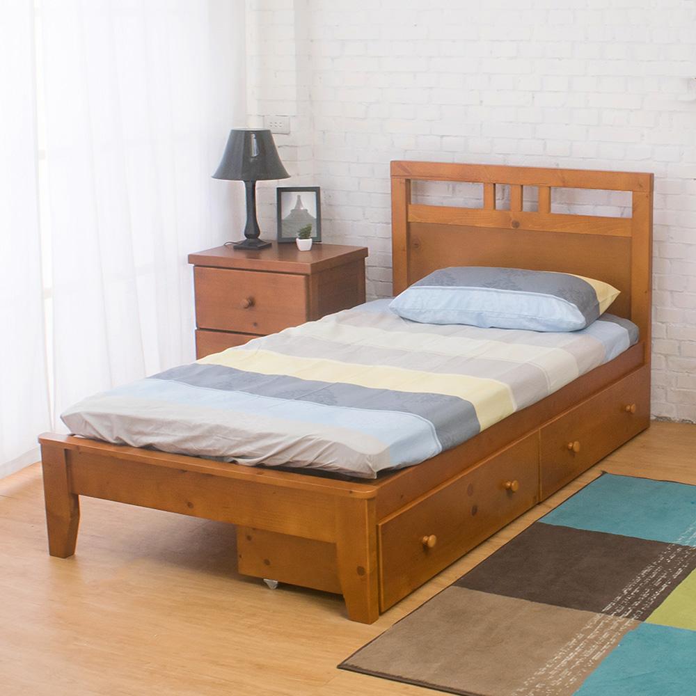 Boden-雀莉3.5尺實木單人床架-抽屜型