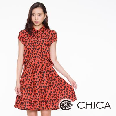 CHICA 特殊三角幾何小領子短袖洋裝(2色)
