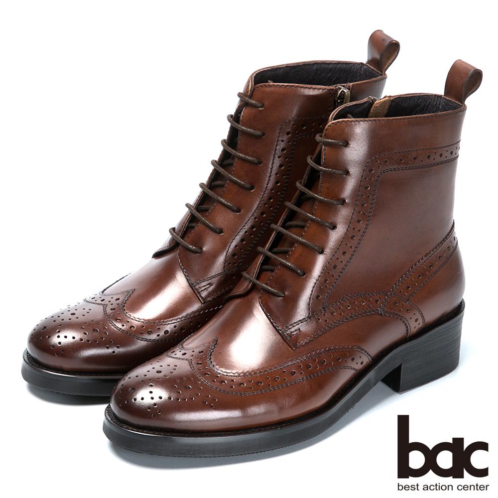 bac英倫學院 率性綁帶真皮短靴-咖啡色