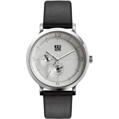 ZOOM Comma 時光停留概念雙眼多功能設計錶-白/ 43 . 5 mm