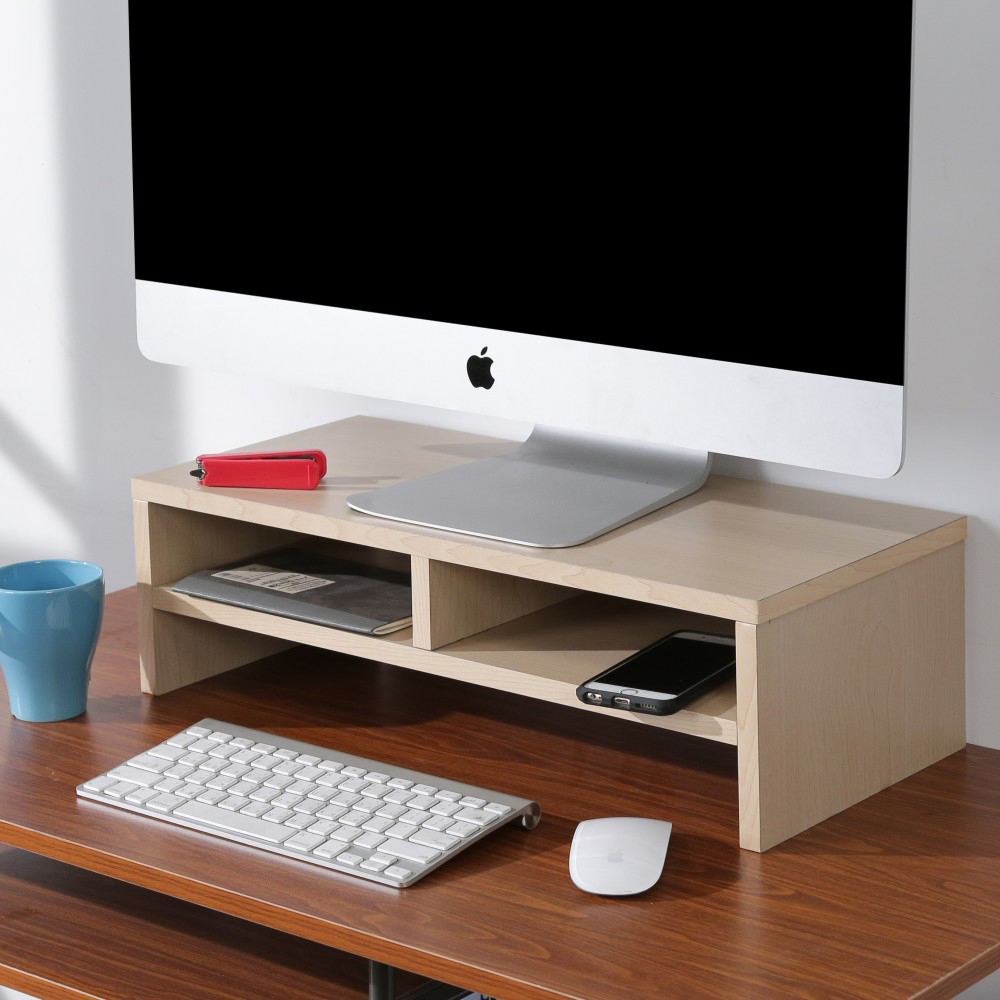 BuyJM 白橡色低甲醛雙層螢幕架/桌上架-DIY