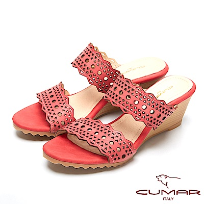 CUMAR涼夏單品-時尚簍空設計坡跟涼鞋-紅色
