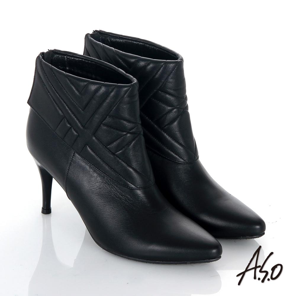 A.S.O 保暖靴 真皮後拉鍊奈米尖楦高跟踝靴 黑