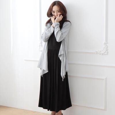 Keep-Chic孕婦裝-兩件式素雅高腰長洋裝-共二色